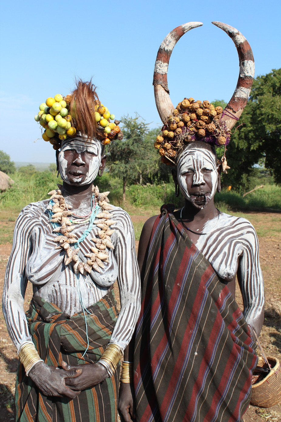 Ethiopia, South Omo Valley, Mursi Tribe, Couple standing
